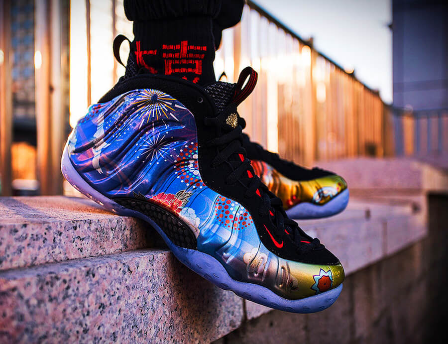 the nike air foamposite one chinese new year on-feet images